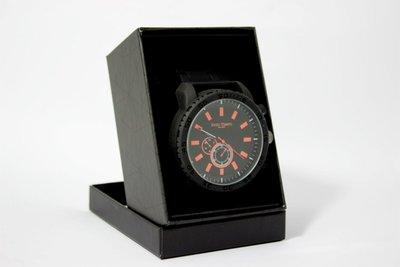Enzo Tempo heren horloge - Zwart/oranje