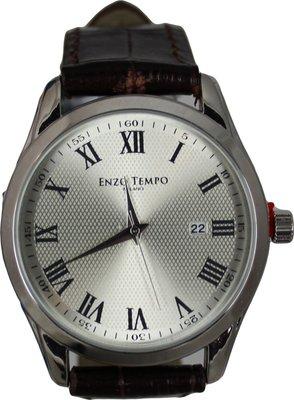 Enzo Tempo heren horloge - Bruin met print