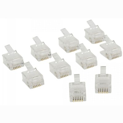 Telecomconnector RJ12 Male PVC Transparant